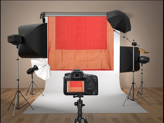 Saree photoshoot in a photostudio with lighting for draping in TRI3D
