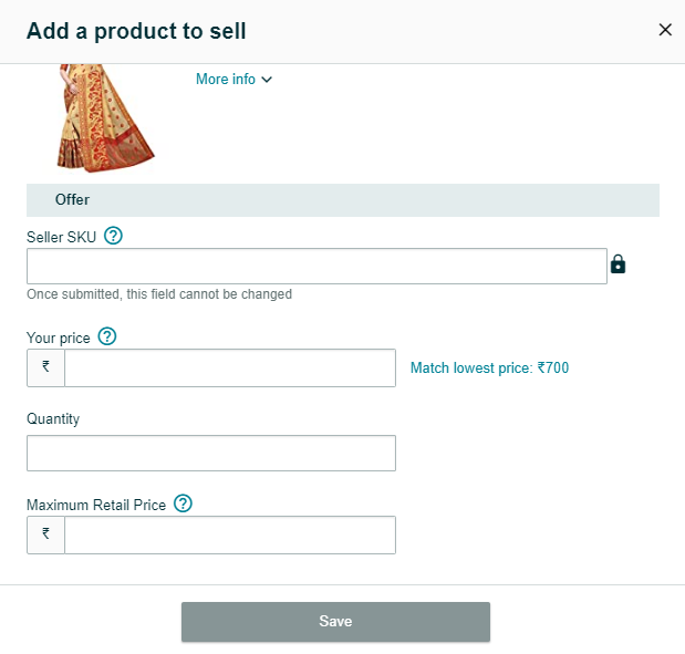 Step 11 : Click on 'Save' to save your saree in your inventory
