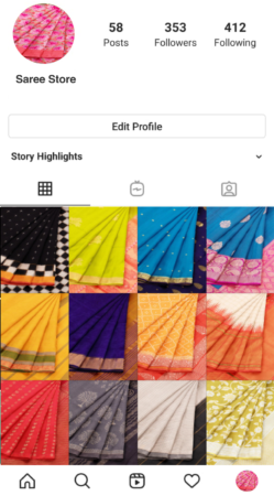 Sell sarees online on Instagram